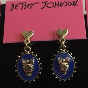 Betsey Johnson Ivy League Skull Girl Earrings